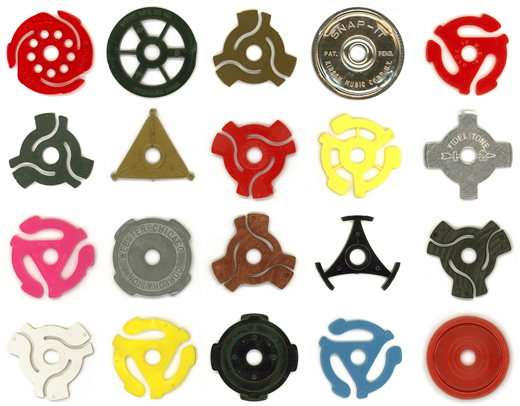 Glen Mullaly's 45 adapter collection.