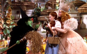 Dorothy Gale, (and Toto too!) caught between two witches.