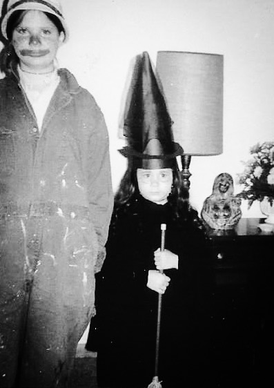 "Halloween circa 1974. My sister Lori and me. (I'm sporting my ""resting witch face."")"