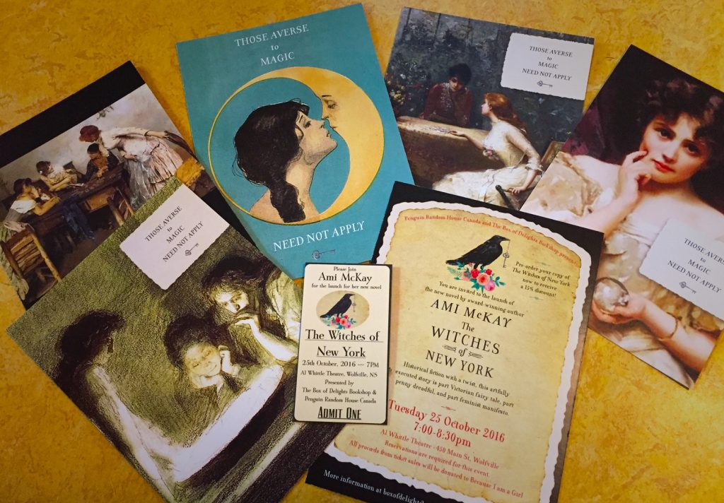 "Gorgeous ""save the date"" postcards provided by the fabulous team at Penguin Random House! (along with one of the event tickets. :)"